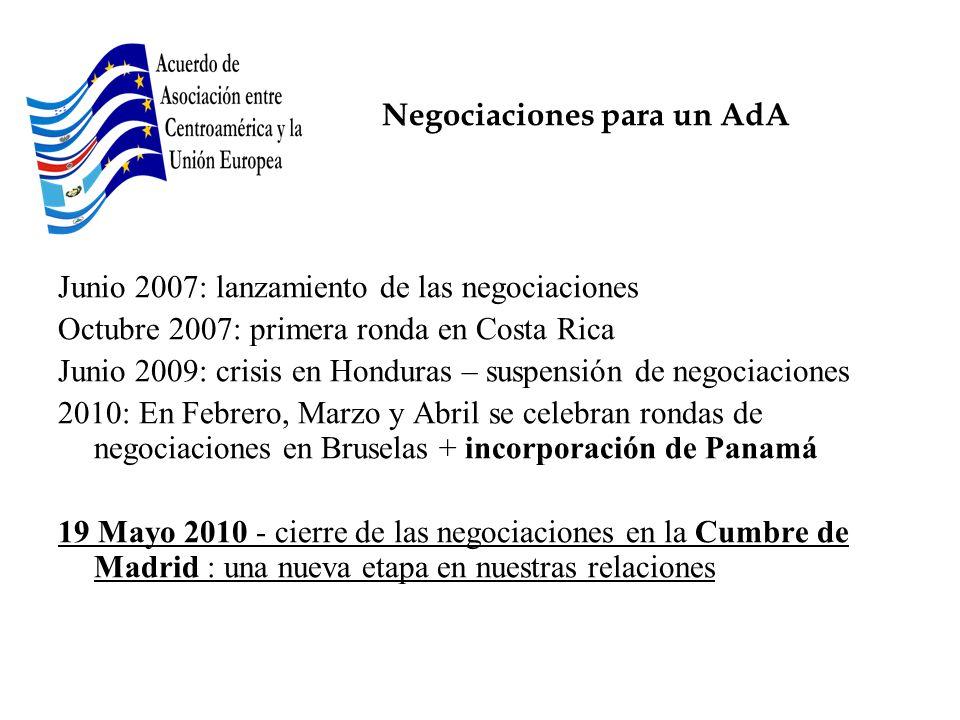 Negociaciones para un AdA Junio 2007: lanzamiento de las negociaciones Octubre 2007: primera ronda en Costa Rica Junio 2009: crisis en Honduras – susp