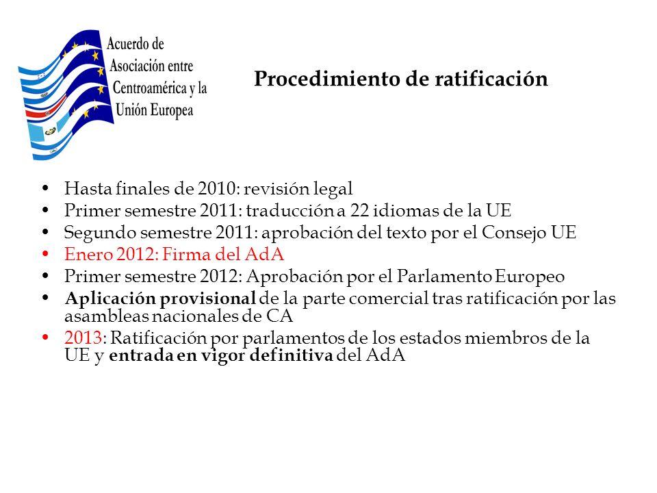 Procedimiento de ratificación Hasta finales de 2010: revisión legal Primer semestre 2011: traducción a 22 idiomas de la UE Segundo semestre 2011: apro
