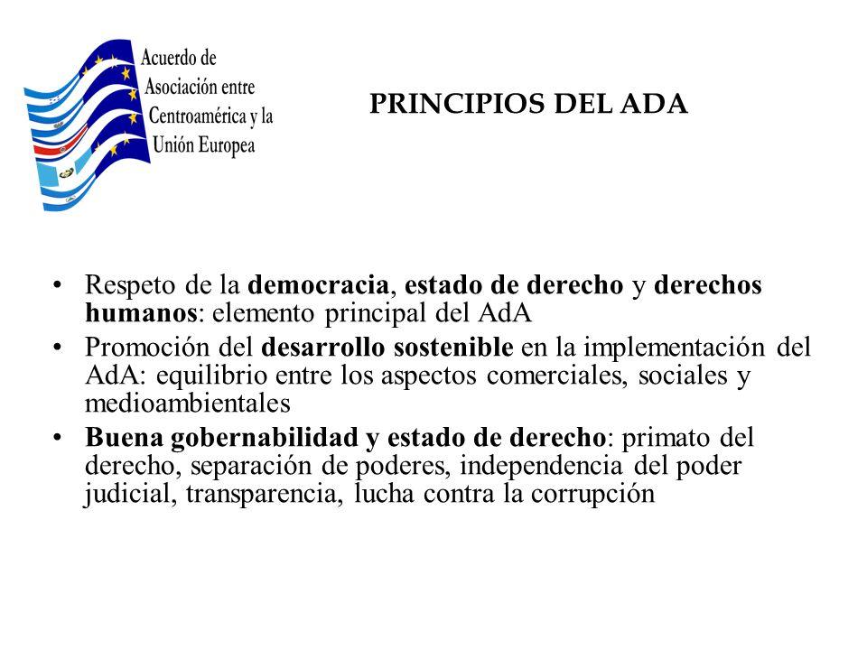 PRINCIPIOS DEL ADA Respeto de la democracia, estado de derecho y derechos humanos: elemento principal del AdA Promoción del desarrollo sostenible en l