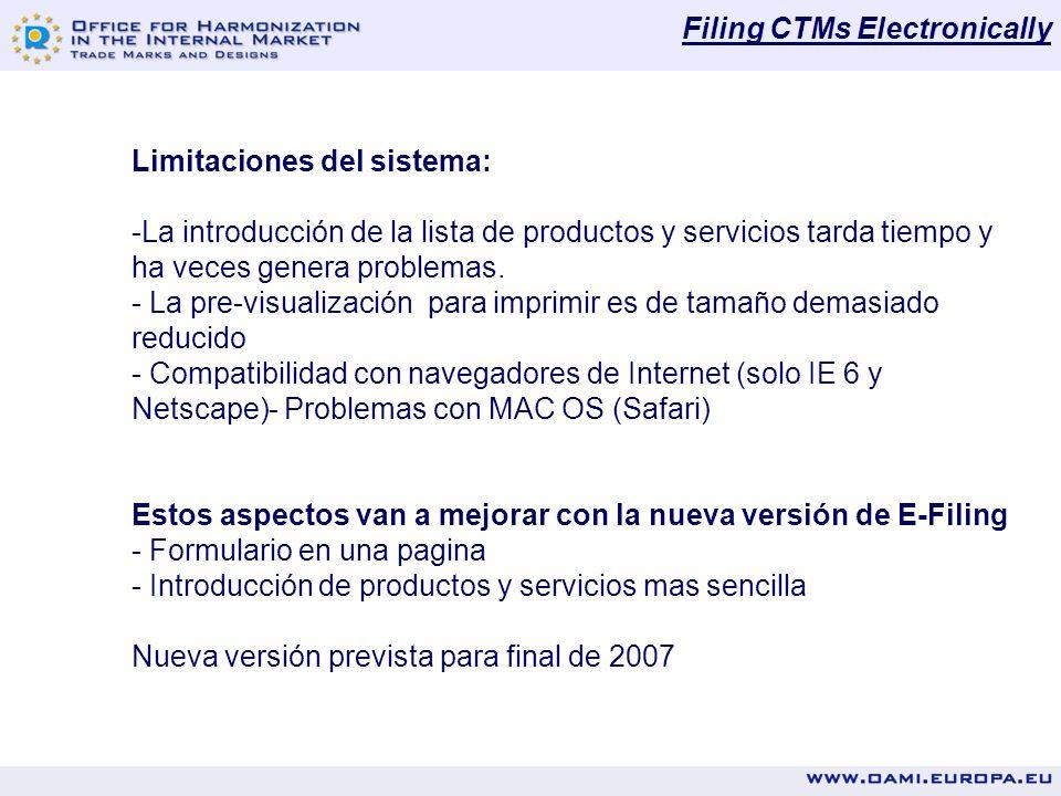 Filing CTMs Electronically Limitaciones del sistema: -La introducción de la lista de productos y servicios tarda tiempo y ha veces genera problemas.