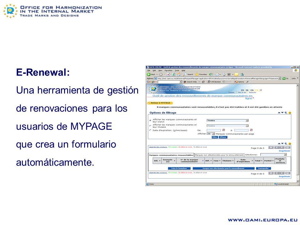 E-Renewal: Una herramienta de gestión de renovaciones para los usuarios de MYPAGE que crea un formulario automáticamente.