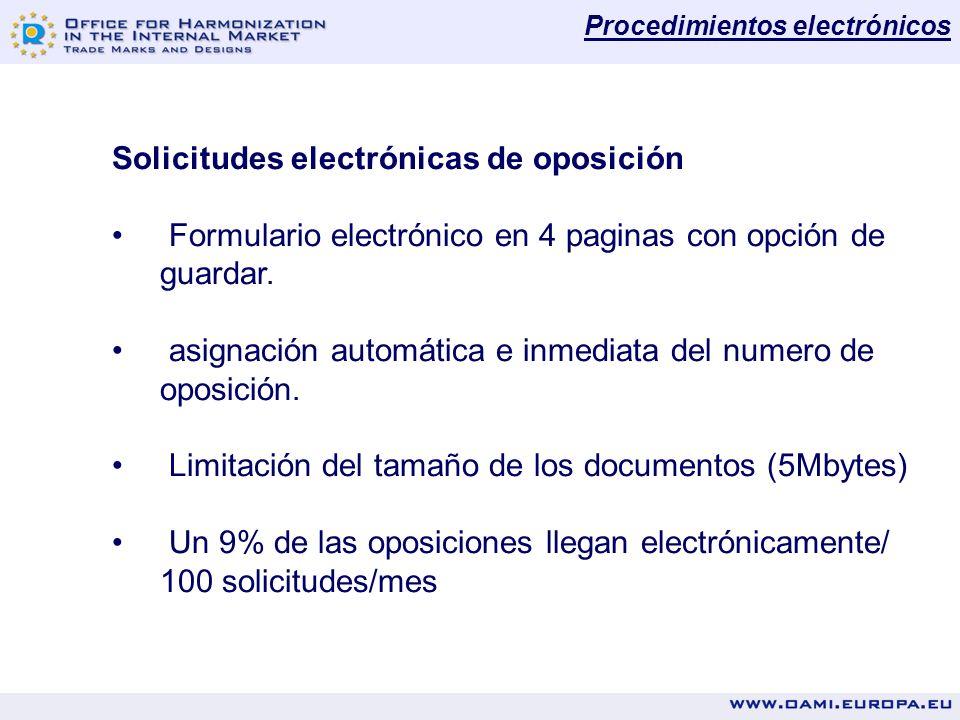 Solicitudes electrónicas de oposición Formulario electrónico en 4 paginas con opción de guardar.