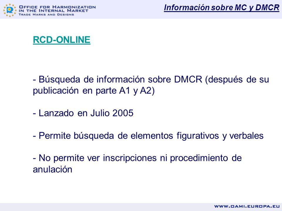 Información sobre MC y DMCR RCD-ONLINE - Búsqueda de información sobre DMCR (después de su publicación en parte A1 y A2) - Lanzado en Julio 2005 - Permite búsqueda de elementos figurativos y verbales - No permite ver inscripciones ni procedimiento de anulación