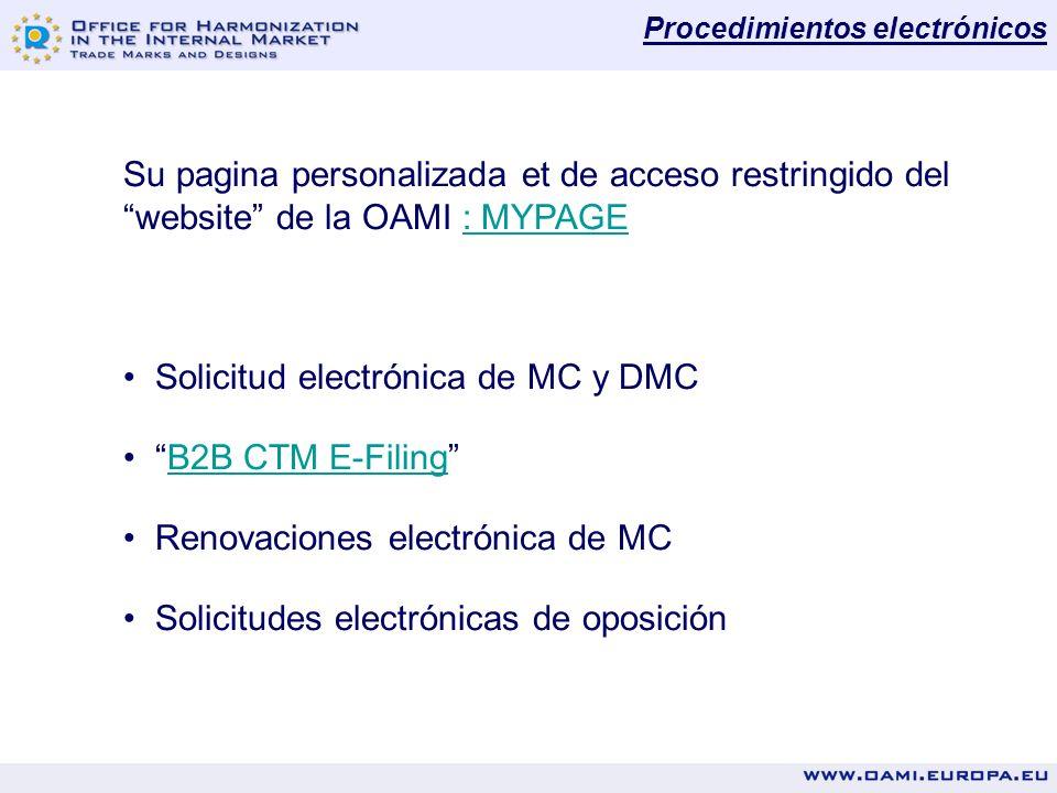 Procedimientos electrónicos Su pagina personalizada et de acceso restringido del website de la OAMI : MYPAGE: MYPAGE Solicitud electrónica de MC y DMC B2B CTM E-Filing Renovaciones electrónica de MC Solicitudes electrónicas de oposición