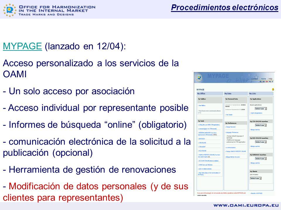 MYPAGEMYPAGE (lanzado en 12/04): Acceso personalizado a los servicios de la OAMI - Un solo acceso por asociación - Acceso individual por representante posible - Informes de búsqueda online (obligatorio) - comunicación electrónica de la solicitud a la publicación (opcional) - Herramienta de gestión de renovaciones - Modificación de datos personales (y de sus clientes para representantes) Procedimientos electrónicos