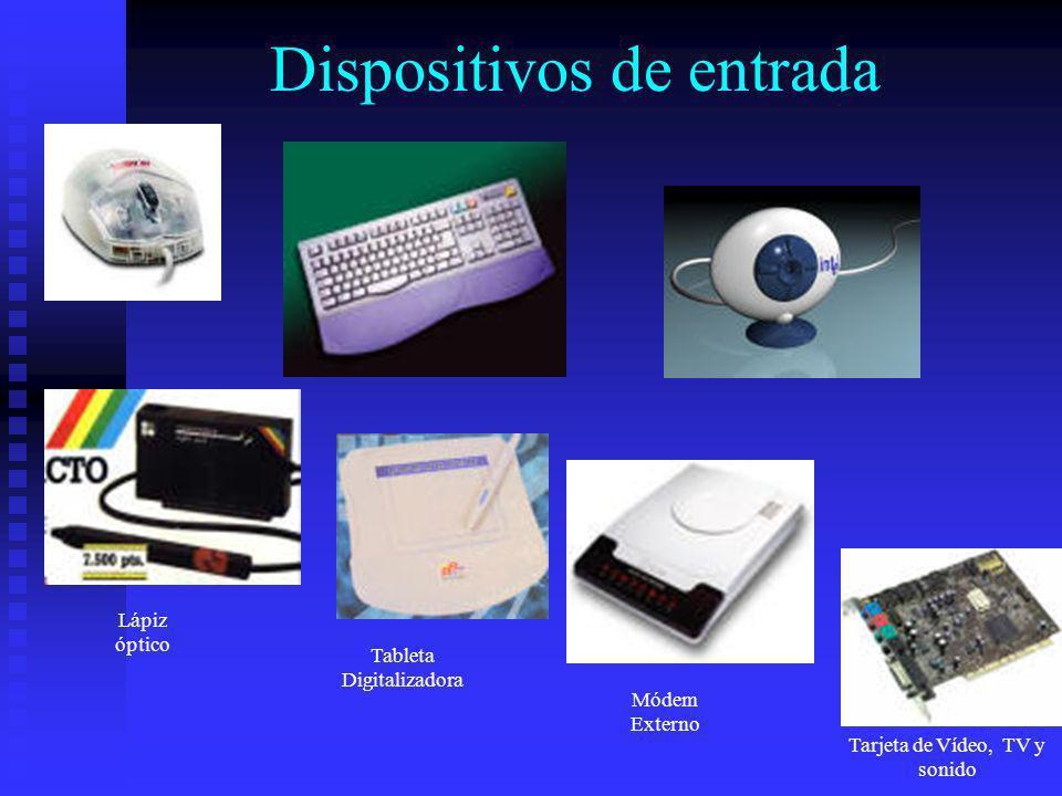 Dispositivos de entrada Lápiz óptico Tableta Digitalizadora Módem Externo Tarjeta de Vídeo, TV y sonido