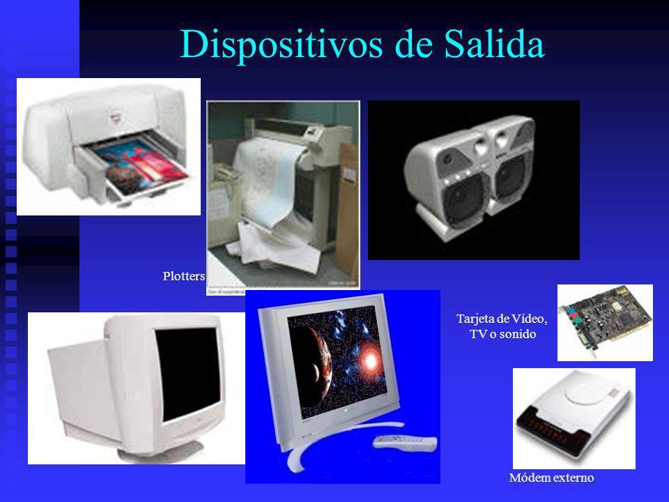 Dispositivos de Salida Módem externo Tarjeta de Vídeo, TV o sonido Plotters
