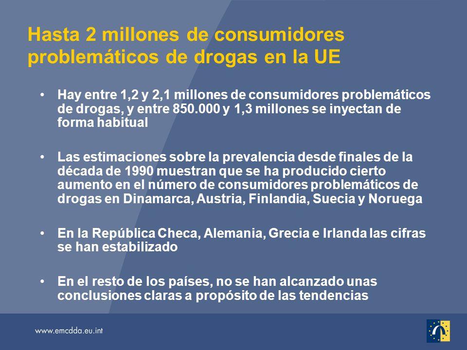 Hasta 2 millones de consumidores problemáticos de drogas en la UE Hay entre 1,2 y 2,1 millones de consumidores problemáticos de drogas, y entre 850.00