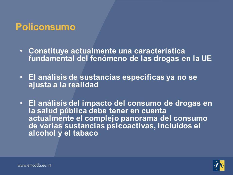 Policonsumo Constituye actualmente una característica fundamental del fenómeno de las drogas en la UE El análisis de sustancias específicas ya no se ajusta a la realidad El análisis del impacto del consumo de drogas en la salud pública debe tener en cuenta actualmente el complejo panorama del consumo de varias sustancias psicoactivas, incluidos el alcohol y el tabaco