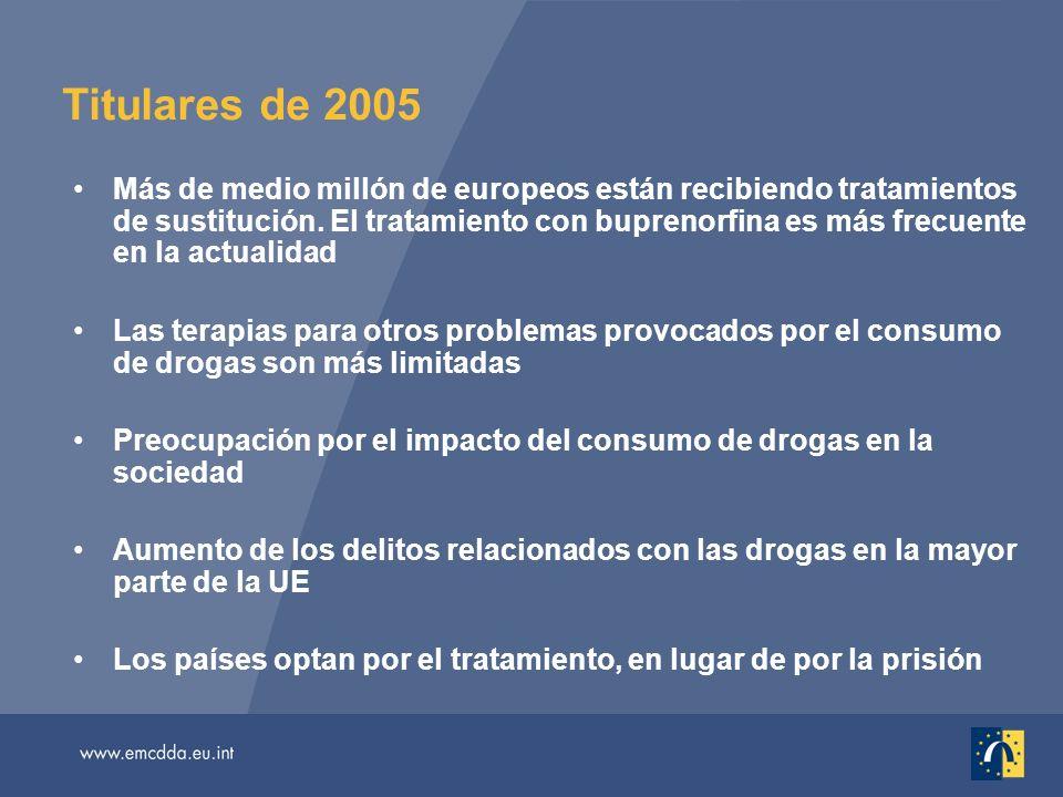 Titulares de 2005 Más de medio millón de europeos están recibiendo tratamientos de sustitución. El tratamiento con buprenorfina es más frecuente en la