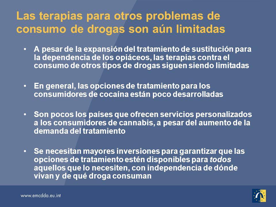 Las terapias para otros problemas de consumo de drogas son aún limitadas A pesar de la expansión del tratamiento de sustitución para la dependencia de