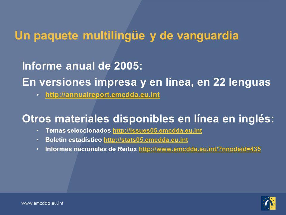 Un paquete multilingüe y de vanguardia Informe anual de 2005: En versiones impresa y en línea, en 22 lenguas http://annualreport.emcdda.eu.inthttp://annualreport.emcdda.eu.int Otros materiales disponibles en línea en inglés: Temas seleccionados http://issues05.emcdda.eu.inthttp://issues05.emcdda.eu.int Boletín estadístico http://stats05.emcdda.eu.inthttp://stats05.emcdda.eu.int Informes nacionales de Reitox http://www.emcdda.eu.int/ nnodeid=435http://www.emcdda.eu.int/ nnodeid=435