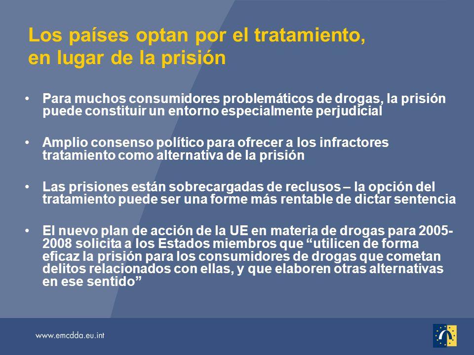 Los países optan por el tratamiento, en lugar de la prisión Para muchos consumidores problemáticos de drogas, la prisión puede constituir un entorno e