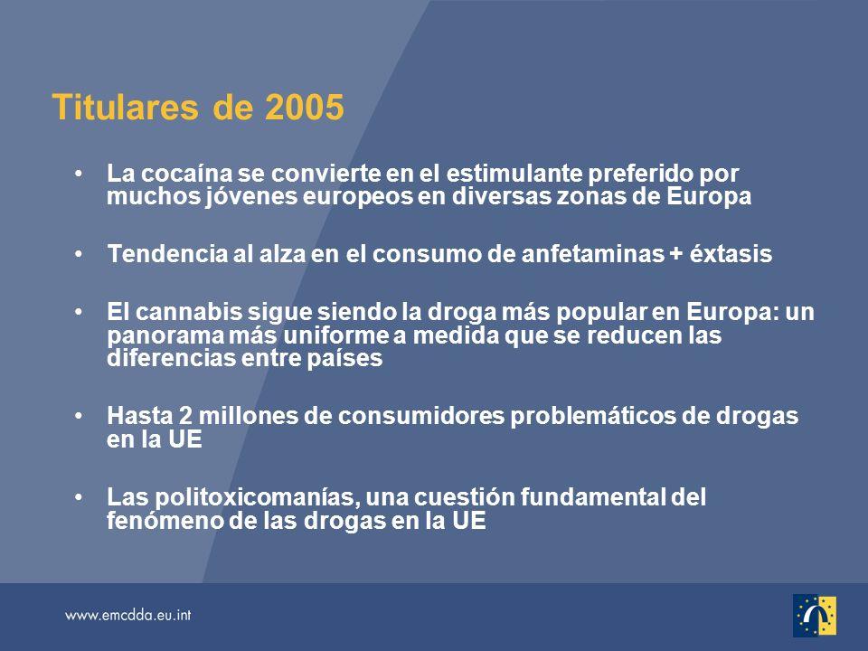 Titulares de 2005 La cocaína se convierte en el estimulante preferido por muchos jóvenes europeos en diversas zonas de Europa Tendencia al alza en el