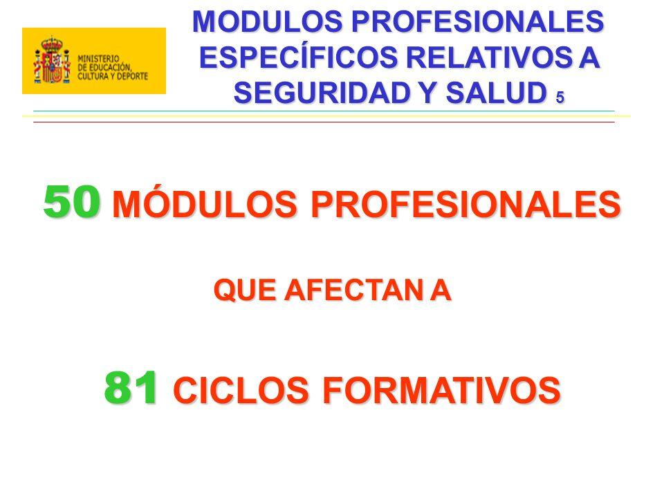MODULOS PROFESIONALES ESPECÍFICOS RELATIVOS A SEGURIDAD Y SALUD 5 50 MÓDULOS PROFESIONALES QUE AFECTAN A 81 CICLOS FORMATIVOS