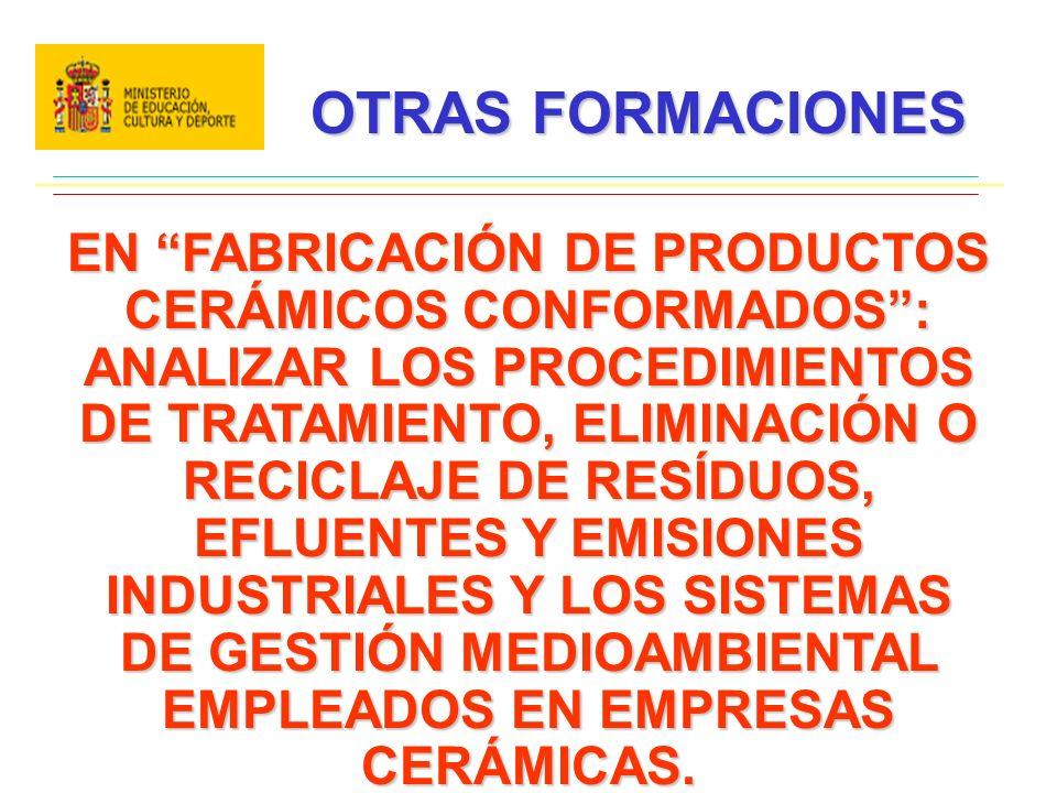 OTRAS FORMACIONES EN FABRICACIÓN DE PRODUCTOS CERÁMICOS CONFORMADOS: ANALIZAR LOS PROCEDIMIENTOS DE TRATAMIENTO, ELIMINACIÓN O RECICLAJE DE RESÍDUOS, EFLUENTES Y EMISIONES INDUSTRIALES Y LOS SISTEMAS DE GESTIÓN MEDIOAMBIENTAL EMPLEADOS EN EMPRESAS CERÁMICAS.