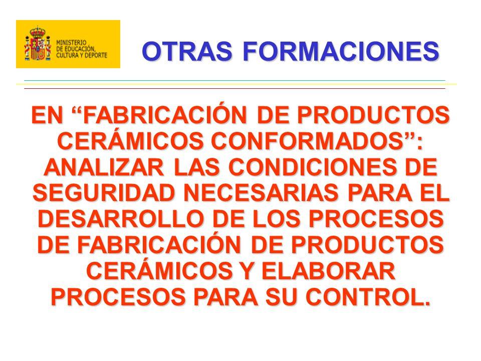 OTRAS FORMACIONES EN FABRICACIÓN DE PRODUCTOS CERÁMICOS CONFORMADOS: ANALIZAR LAS CONDICIONES DE SEGURIDAD NECESARIAS PARA EL DESARROLLO DE LOS PROCESOS DE FABRICACIÓN DE PRODUCTOS CERÁMICOS Y ELABORAR PROCESOS PARA SU CONTROL.