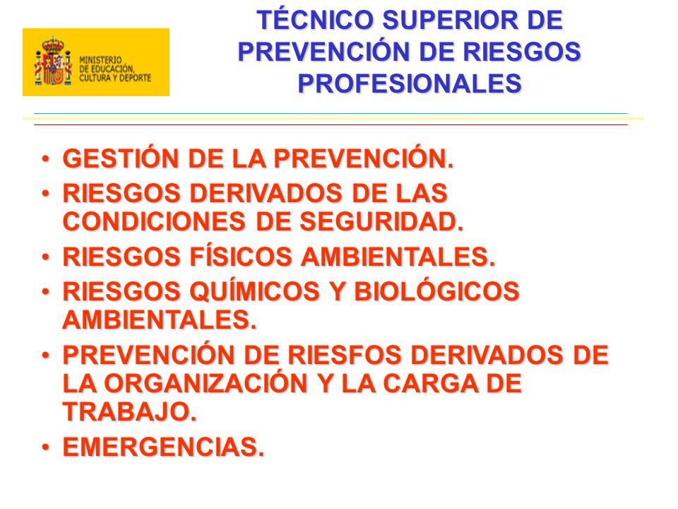 TÉCNICO SUPERIOR DE PREVENCIÓN DE RIESGOS PROFESIONALES GESTIÓN DE LA PREVENCIÓN.GESTIÓN DE LA PREVENCIÓN. RIESGOS DERIVADOS DE LAS CONDICIONES DE SEG