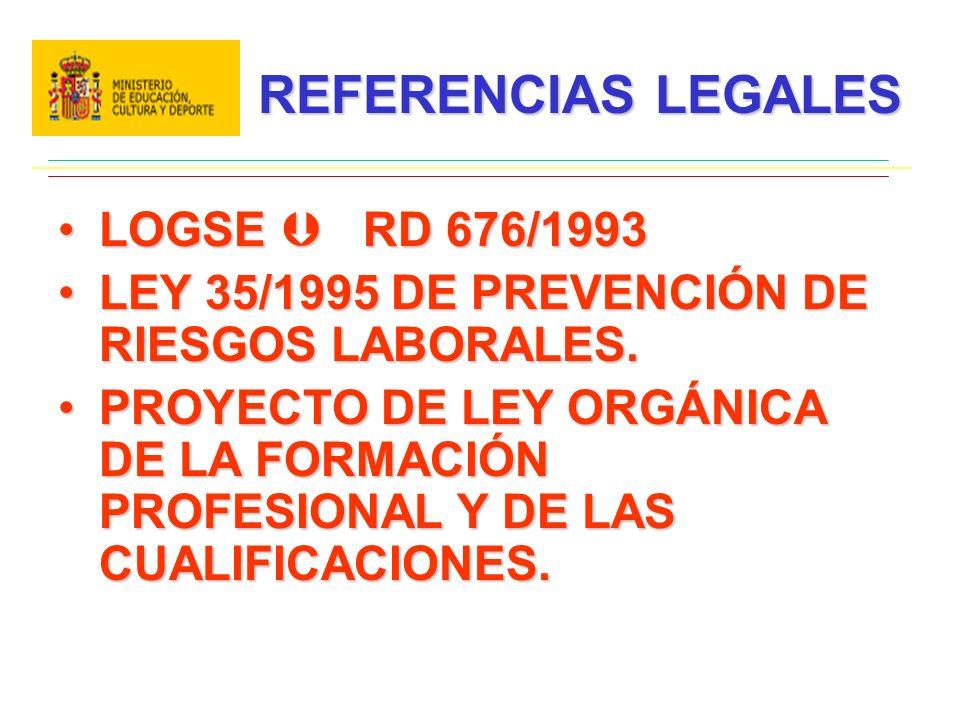 REFERENCIAS LEGALES LOGSE RD 676/1993LOGSE RD 676/1993 LEY 35/1995 DE PREVENCIÓN DE RIESGOS LABORALES.LEY 35/1995 DE PREVENCIÓN DE RIESGOS LABORALES.