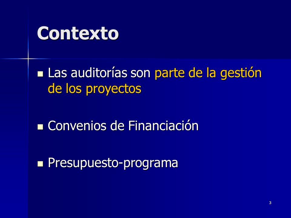 3 Contexto Las auditorías son parte de la gestión de los proyectos Las auditorías son parte de la gestión de los proyectos Convenios de Financiación Convenios de Financiación Presupuesto-programa Presupuesto-programa