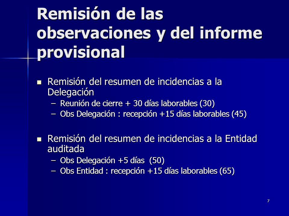 7 Remisión de las observaciones y del informe provisional Remisión del resumen de incidencias a la Delegación Remisión del resumen de incidencias a la Delegación –Reunión de cierre + 30 días laborables (30) –Obs Delegación : recepción +15 días laborables (45) Remisión del resumen de incidencias a la Entidad auditada Remisión del resumen de incidencias a la Entidad auditada –Obs Delegación +5 días (50) –Obs Entidad : recepción +15 días laborables (65)
