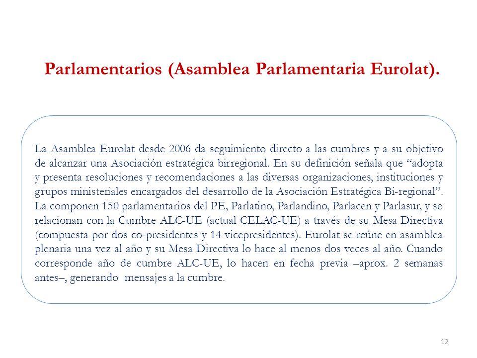 12 La Asamblea Eurolat desde 2006 da seguimiento directo a las cumbres y a su objetivo de alcanzar una Asociación estratégica birregional.