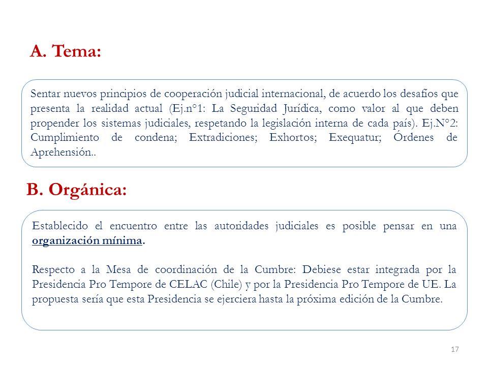 17 Sentar nuevos principios de cooperación judicial internacional, de acuerdo los desafíos que presenta la realidad actual (Ej.n°1: La Seguridad Jurídica, como valor al que deben propender los sistemas judiciales, respetando la legislación interna de cada país).