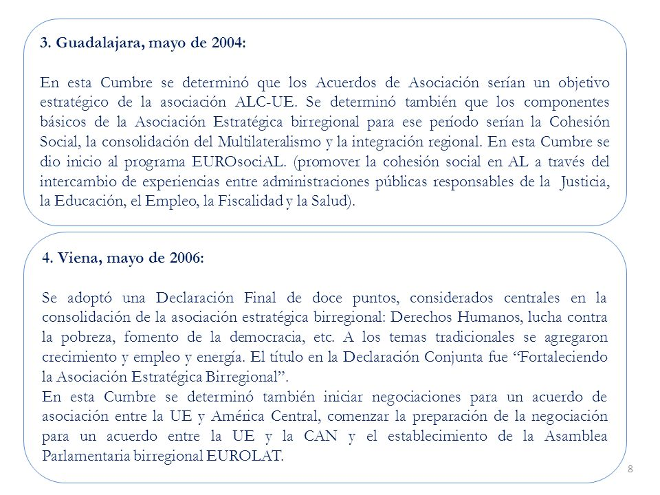 8 4. Viena, mayo de 2006: Se adoptó una Declaración Final de doce puntos, considerados centrales en la consolidación de la asociación estratégica birr
