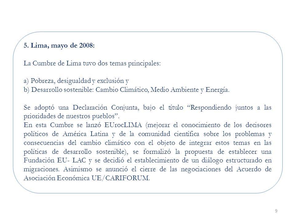 9 5. Lima, mayo de 2008: La Cumbre de Lima tuvo dos temas principales: a) Pobreza, desigualdad y exclusión y b) Desarrollo sostenible: Cambio Climátic