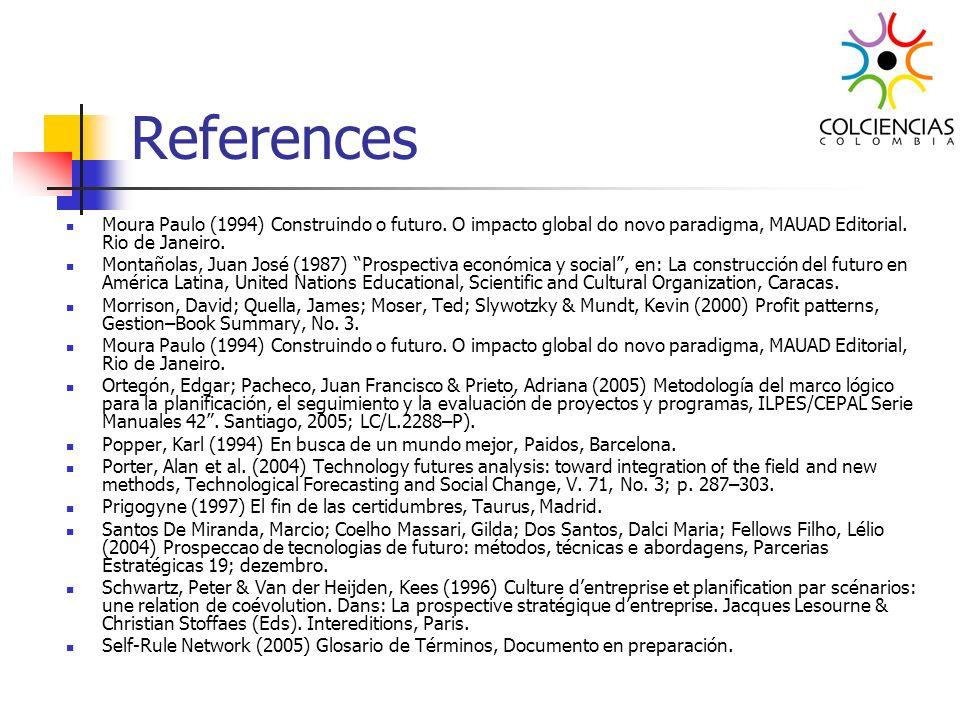 References Moura Paulo (1994) Construindo o futuro. O impacto global do novo paradigma, MAUAD Editorial. Rio de Janeiro. Montañolas, Juan José (1987)