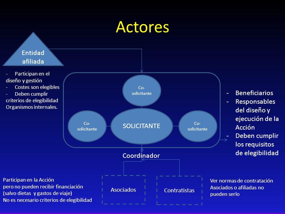 Actores SOLICITANTE Co- solicitante -Beneficiarios -Responsables del diseño y ejecución de la Acción -Deben cumplir los requisitos de elegibilidad Coo