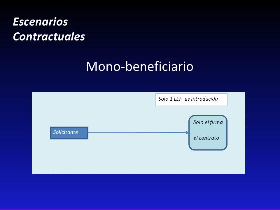 Escenarios Contractuales Mono-beneficiario Solicitante Solo el firma el contrato Solo 1 LEF es introducida
