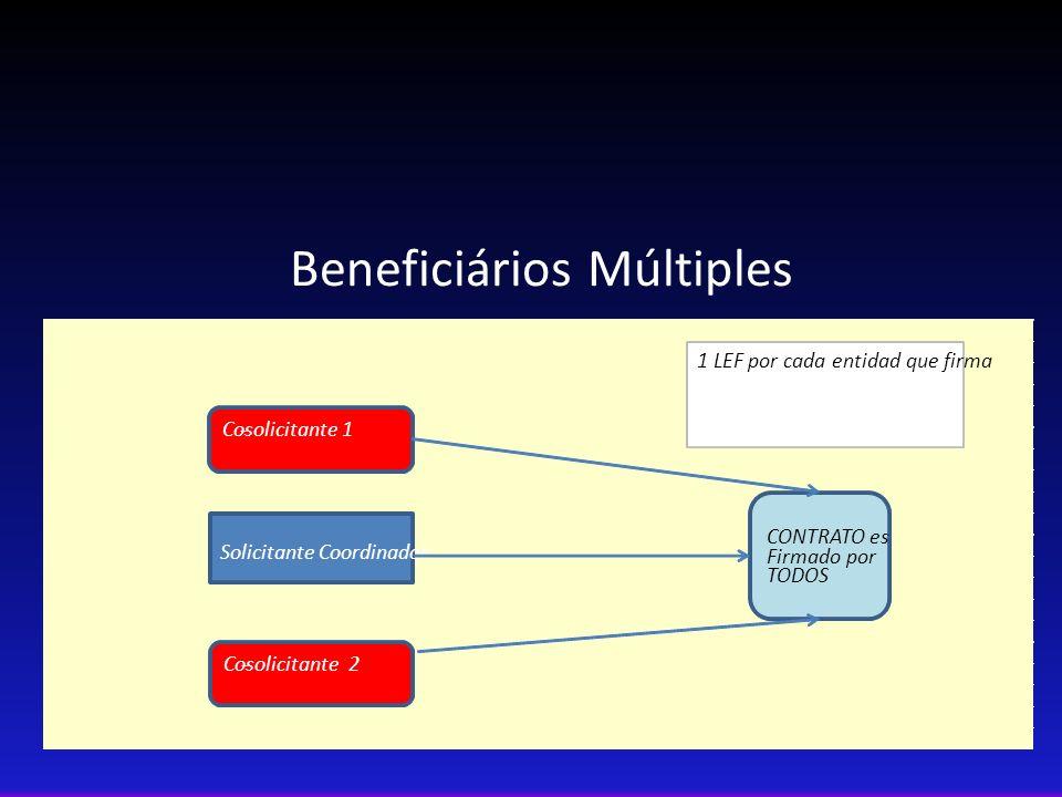 Beneficiários Múltiples Solicitante Coordinador Co-solicitante 1 CONTRATO es Firmado por TODOS Co-solicitante 2 1 LEF por cada entidad que firma