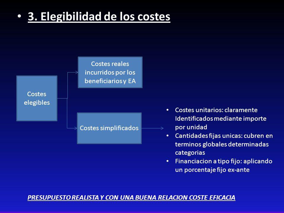 3. Elegibilidad de los costes Costes elegibles Costes reales incurridos por los beneficiarios y EA Costes simplificados Costes unitarios: claramente I