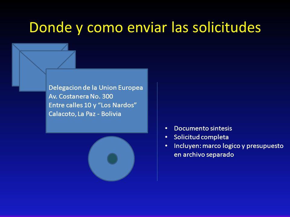 Donde y como enviar las solicitudes Documento sintesis Solicitud completa Incluyen: marco logico y presupuesto en archivo separado Delegacion de la Union Europea Av.