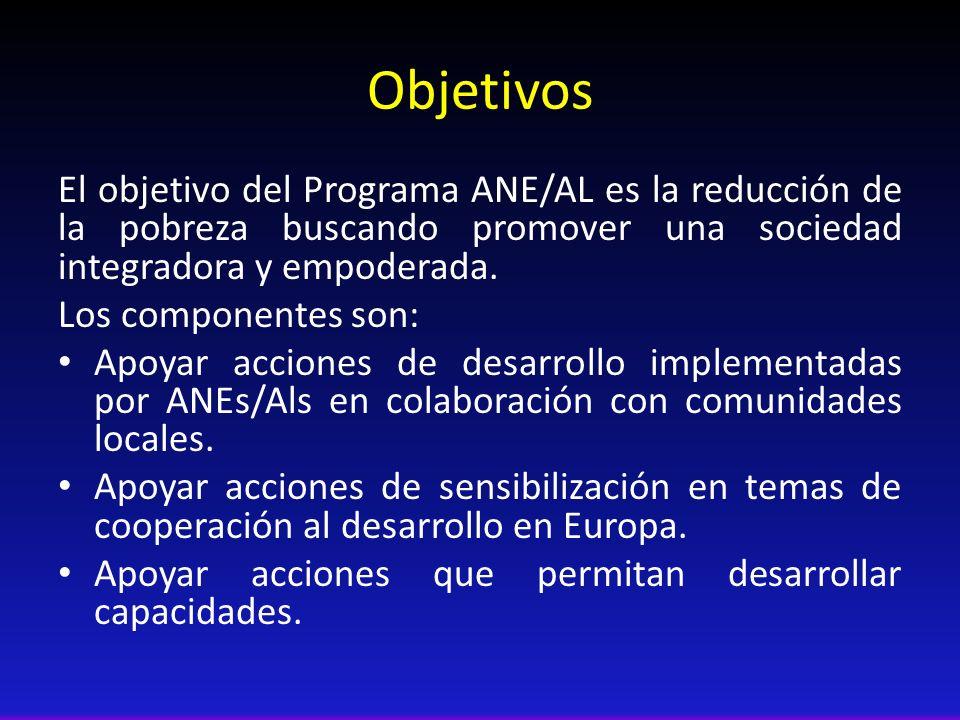 Objetivos El objetivo del Programa ANE/AL es la reducción de la pobreza buscando promover una sociedad integradora y empoderada. Los componentes son: