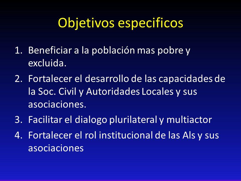 Objetivos especificos 1.Beneficiar a la población mas pobre y excluida. 2.Fortalecer el desarrollo de las capacidades de la Soc. Civil y Autoridades L