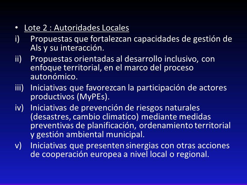 Lote 2 : Autoridades Locales i)Propuestas que fortalezcan capacidades de gestión de Als y su interacción. ii)Propuestas orientadas al desarrollo inclu