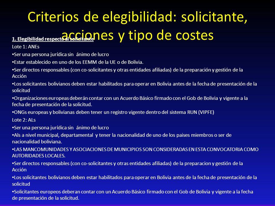 Criterios de elegibilidad: solicitante, acciones y tipo de costes 1. Elegibilidad respecto al solicitante Lote 1: ANEs Ser una persona jurídica sin án