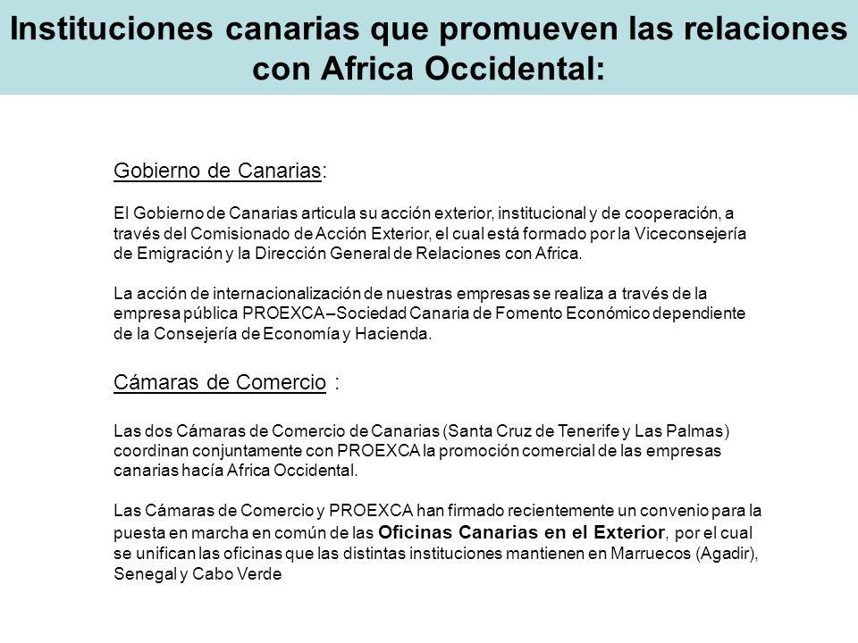 Instituciones canarias que promueven las relaciones con Africa Occidental: Gobierno de Canarias: El Gobierno de Canarias articula su acción exterior,