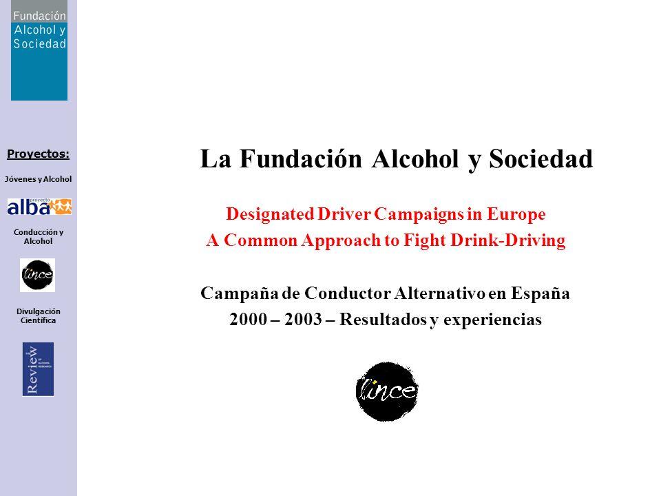 Proyectos: Jóvenes y Alcohol Conducción y Alcohol Divulgación Científica La Fundación Alcohol y Sociedad Designated Driver Campaigns in Europe A Commo