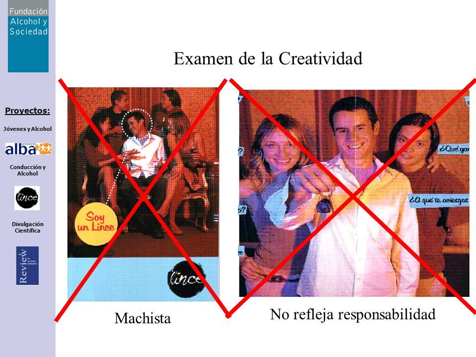Proyectos: Jóvenes y Alcohol Conducción y Alcohol Divulgación Científica Examen de la Creatividad Machista No refleja responsabilidad