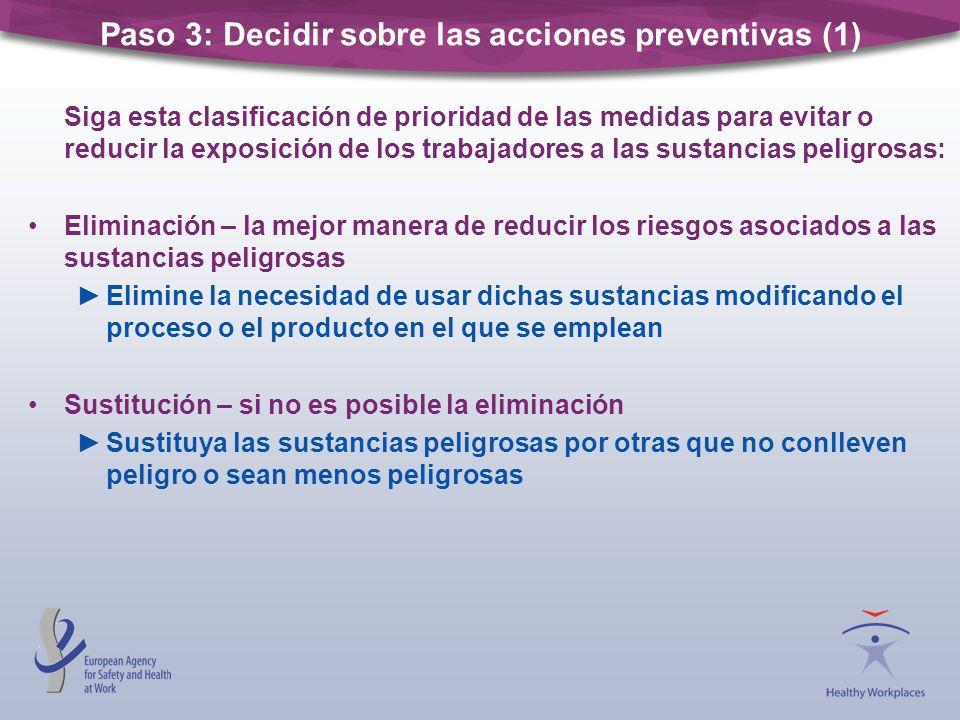 Siga esta clasificación de prioridad de las medidas para evitar o reducir la exposición de los trabajadores a las sustancias peligrosas: Eliminación –