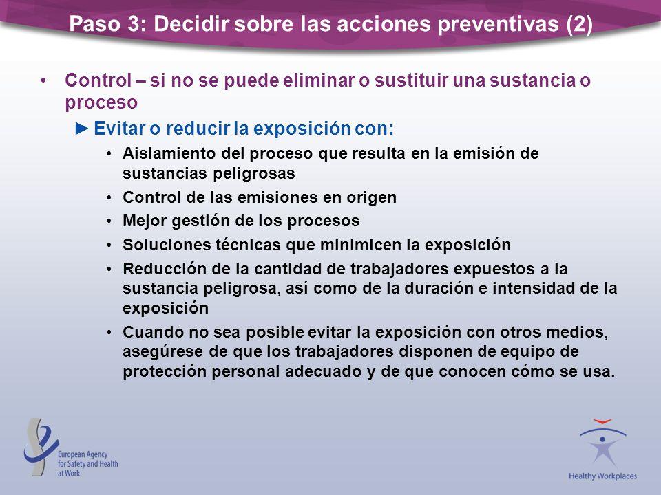Control – si no se puede eliminar o sustituir una sustancia o proceso Evitar o reducir la exposición con: Aislamiento del proceso que resulta en la em