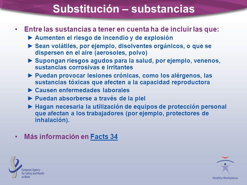 Substitución – substancias Entre las sustancias a tener en cuenta ha de incluir las que: Aumenten el riesgo de incendio y de explosión Sean volátiles,