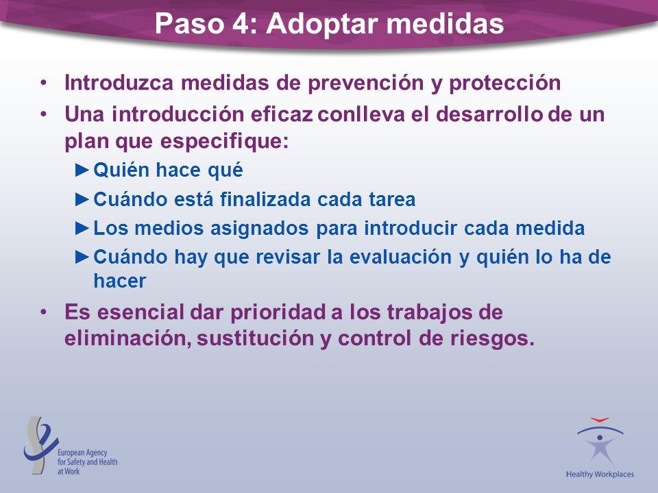 Paso 4: Adoptar medidas Introduzca medidas de prevención y protección Una introducción eficaz conlleva el desarrollo de un plan que especifique: Quién