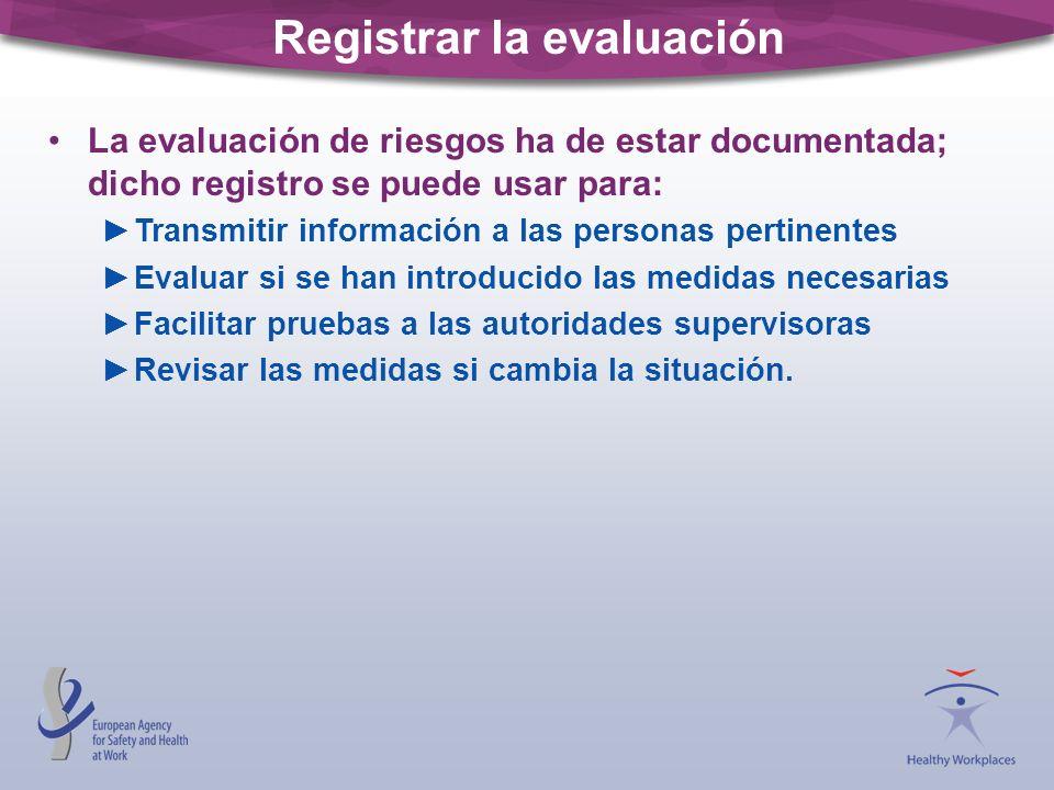 Registrar la evaluación La evaluación de riesgos ha de estar documentada; dicho registro se puede usar para: Transmitir información a las personas per