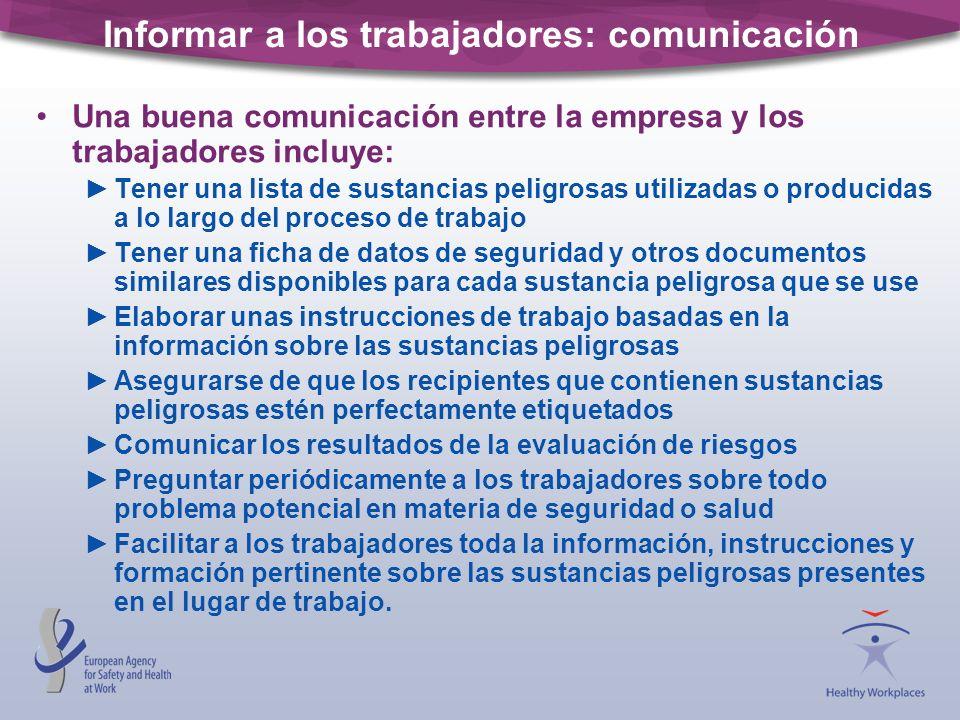 Informar a los trabajadores: comunicación Una buena comunicación entre la empresa y los trabajadores incluye: Tener una lista de sustancias peligrosas