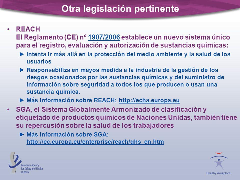 Otra legislación pertinente REACH El Reglamento (CE) nº 1907/2006 establece un nuevo sistema único para el registro, evaluación y autorización de sust