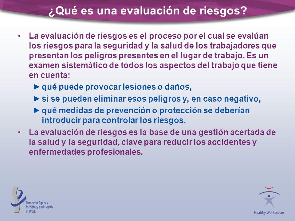 ¿Qué es una evaluación de riesgos? La evaluación de riesgos es el proceso por el cual se evalúan los riesgos para la seguridad y la salud de los traba
